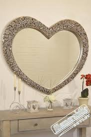 vintage silver heart shaped wall mirror