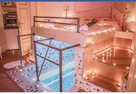 romantic bed with pool underneath