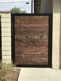 Steel Frame Gate With Stained Redwood Inserts Fence Gate Design Wood Gate Backyard Gates