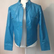 metro style blue genuine leather moto