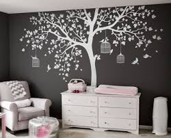 Big White Tree Decal Big Tree For Kid Room Wall Tree White Bigtree Birds Natu Wall Stickers Living Room Nursery Wall Decals Family Tree Wall Sticker