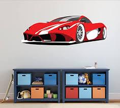 Amazon Com Sport Car Wall Decal Big Red Ferrari Home Decor 17 X 50 Home Kitchen