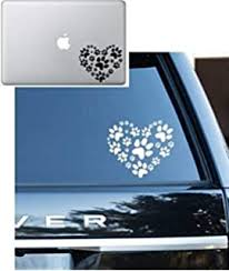 Amazon Com World Design Love Dog Cat Paw Print With Heart Car Decal Sticker Automotive