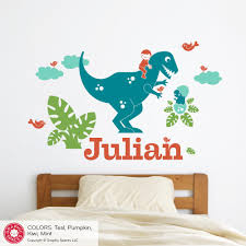 T Rex Dinosaur Wall Decal Personalized Name Boy Dino Nursery Decor Graphic Spaces