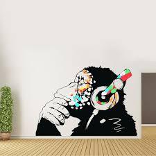 Banksy Thinking Monkey Sticker Art Vinyl Street Dj Baksy Etsy