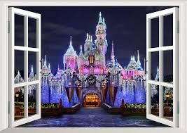 Disney Castle Wall Stickers Princess 3d View Window Decal For Kids Room Girl Room Bedroom Accessories Decals Wall Stickers Aliexpress