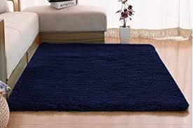 Amazon Com Flashltd Fluffy Ultra Soft Shaggy Area Rugs For Kids Baby Children Fluffy Carpet For Kids Room Bedside Nursery Rug 2 X 3 Navy Blue Furniture Decor