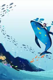 مرسومة باليد الكرتون المحيط أسماك القرش الزرقاء