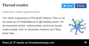 "Thread by @theoc2ps: ""The white supremacy of Elizabeth Warren This is not  my work but of Twila Barnes & @ColeDeLaune1 It's an important article;  unfortunately […]"""