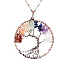 handmade chakra tree of life necklace