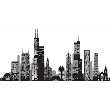 Wall Pops Black Chicago Cityscape Wall Decal Wpk2519 The Home Depot