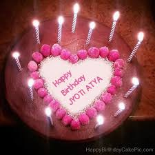 ❤️ candles heart happy birthday cake for jyoti atya