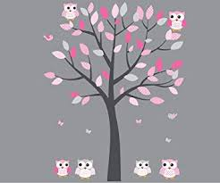 Amazon Com Pink Owl Wall Decal Baby Nursery Or Girl S Room Gray Pink Vinyl Tree Decal Baby