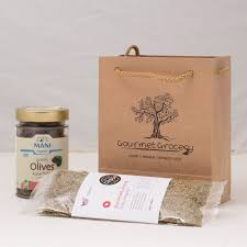 olives and oregano in gift bag organic