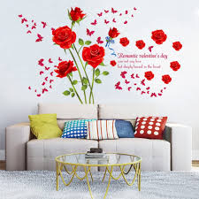 Amazon Com Decalmile Red Rose Removable Wall Stickers Removable Flower Wall Decals Bedroom Living Room Wall Art Decor Home Improvement