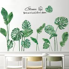 Diy Tropical Leaf Wall Decals Nodic Style Plant Bedroom Decoration Wall Stickers Wish