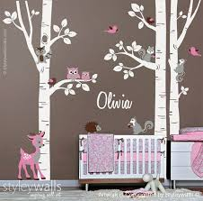 Birch Trees Sticker Birch Trees Wall Decal Forest Animals Etsy Birch Tree Wall Decal Nursery Wall Decals Tree Wall