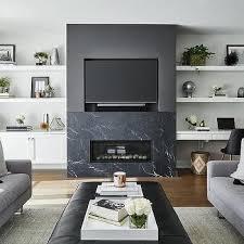 modern black marble fireplace mantel