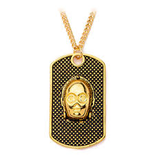 c 3po dog tag pendant necklace