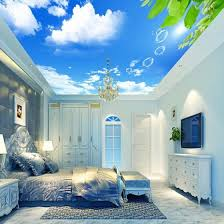Shop Custom Mural Wallpaper 3d Blue Sky White Clouds Leaves Modern Wall Decor Paper Living Room Study Bedroom Ceiling Wallpaper 3d Online From Best Wall Stickers Murals On Jd Com Global Site