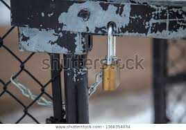 Padlock Lock On Fence Gate Chain Stock Photo Edit Now 1360354034