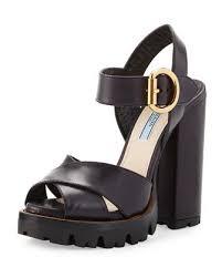 leather platform sandal black nero