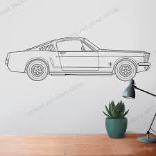Ford Mustang Wall Decal 65 Mustang Fastback Art Pony Car Art Auto Blueprint Art Automobile Design For Home Docoration Rb189 Wall Stickers Aliexpress