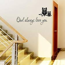 Amazon Com Siuoni Owl Always Love You Cute Owl Wall Decals Nursery Removable Wall Stickers Murals Wall Sticker For Kids Room Wall Decals For Baby Room Home Kitchen