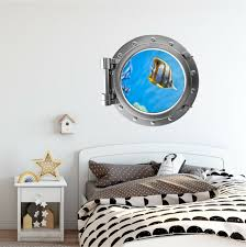Stick It Graphix Portscape Tropical Fish 1 Porthole Window 3d Wall Sticker Decal Under The Sea