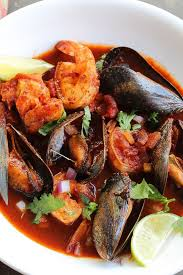 mexican seafood stew in a bowl ...