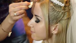 bridal makeup applying face stock