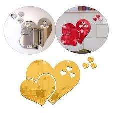 Vova 3d Home Art Mirror Wall Sticker Love Hearts Lip Room Decal Mural Decor
