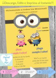 Invitacion Doble Minion Fiesta Cumpleanos Ninos Mi Villano Etsy