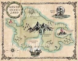 Peter Pan Never Never Land Map Vintage Poster Disney Etsy Disney Tattoos Peter Pan Peter Pan Decor Vintage Posters