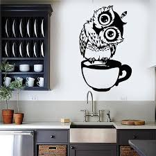Vinyl Wall Decal Funny Cartoon Owl Cup Of Tea Coffee For Kitchen Stickers Home Decor Living Wall Sticker Vinyl Decals Walls Vinyl For Wall Decals From Joystickers 11 13 Dhgate Com