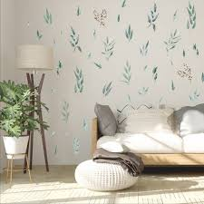 Watercolor Olive Leaves Wall Decal Scandinavian Art Wall Etsy