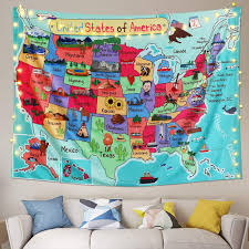Amazon Com Alynsehom Tapestry United States Map Cartoon America Usa State Distribution Colorful Educational Tapestry Wall Hanging Kids Bedroom Nursery Classroom Decor 51 X59 130x150cm Home Kitchen
