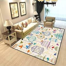 Amazon Com Vintage Decor Collection Kids Room Home Decor Carpet Vintage Bird And Birdcases Collection Floral Love And Freedom Theme Illustration Cosy Cute Floor Rug For Kids And Teens Room Purple Green Blue