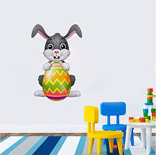 Juseny Kids Room Bedroom Stickers Kawaii Lovely Cartoon Easter Rabbit Wall Sticker Decal Home Removable Party Decorate Educational Toys Planet