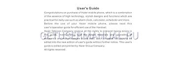 Haier Cell Phone V280 User's Manual ...