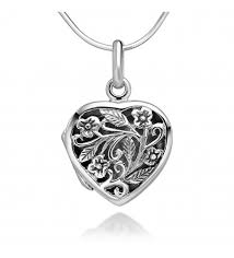 filigree flower heart shaped locket