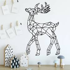 Fawn Wall Stickers Geometric Animals Vinyl Decal Kids Room Decoration Removable Elk Wall Decor Abstract Art Home Decor Wall Stickers Aliexpress