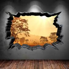 Cracked Hole Safari Home 3d Full Colour Wall Sticker Decal Sunset Wsd557 Ebay