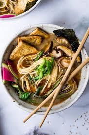 vegan ramen with miso shiitake broth