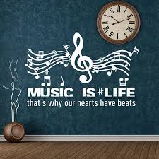 Music Quote Wall Decal Music Is Life Wall Vinyl Roll Sticker Inspirational Quotes Music Wall Art Gift Wall Decoration Da31 Wall Stickers Aliexpress