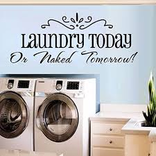 Amazon Com Decorstyle Removable Vintage Wall Stickers Bathroom Laundry Room Family Room Play Room Toilet Door Sign Vinyl Art Decals Laundry Room Home Kitchen