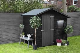 Black Shed Grey Fence In 2020 Black Shed Garden Shed Interiors Garden Fence Paint