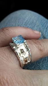 aquamarine cross ring unique silver