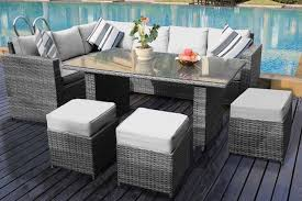 9 seater l shaped rattan dining set