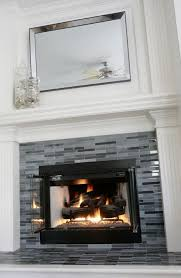 fireplace grey black glass tile